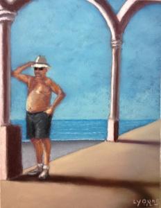 """The Tourist Sennelier soft pastels on Colourfix pastel paper 9""""x12"""""""