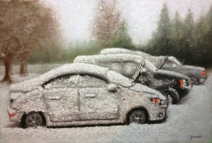 "Winter Parking Lot Bugs Lorraine Young Sennelier soft pastels on Canson Mi-Teintes pastel paper.  7""x10"""