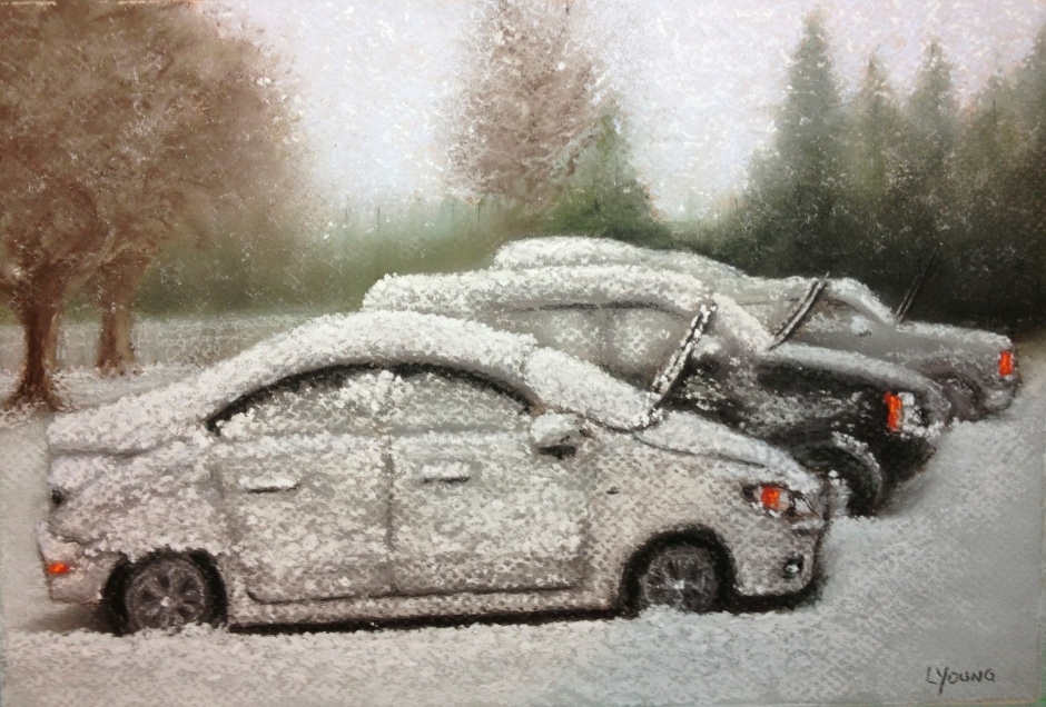 "Winter Parking Lot Bugs Lorraine Young Sennelier soft pastels on Canson Mi-Teintes pastel paper. 7""x10"" $100"