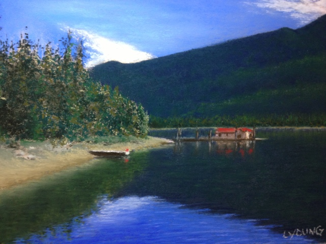 "Shuswap Lake, British Columbia   Sennelier soft pastels on sanded pastel card, 9""x12"""