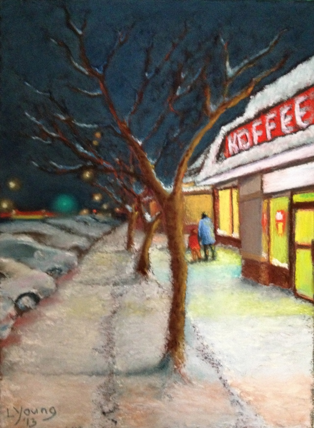 The Koffee Cafe Sennelier soft pastels on sanded pastel card, 9:x12: