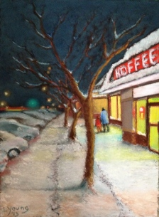 "SOLD Koffee Cafe Lorraine Young Sennelier soft pastels on pastel card 9""x12"" $230"