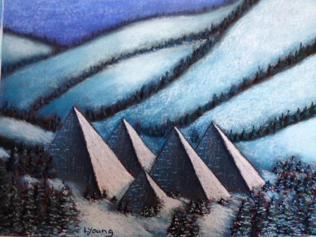 Muttart Conservatory, EdmontonSennelier soft pastels on pastel card, 9x12