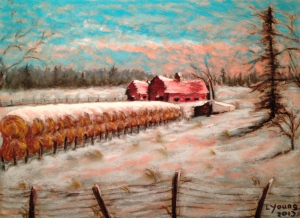 ALBERTA SUNSET, Barns and Haystacks (HWY 39 Series) by Lorraine Young soft pastels on pastel card 15