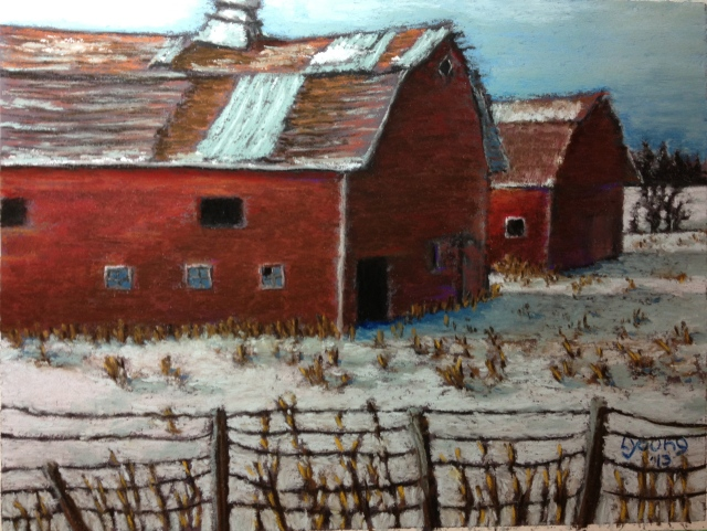 "Barns on Hwy 39  Sennelier soft pastels on sanded pastel card  9"" x 12""   (c) Lorraine Young"