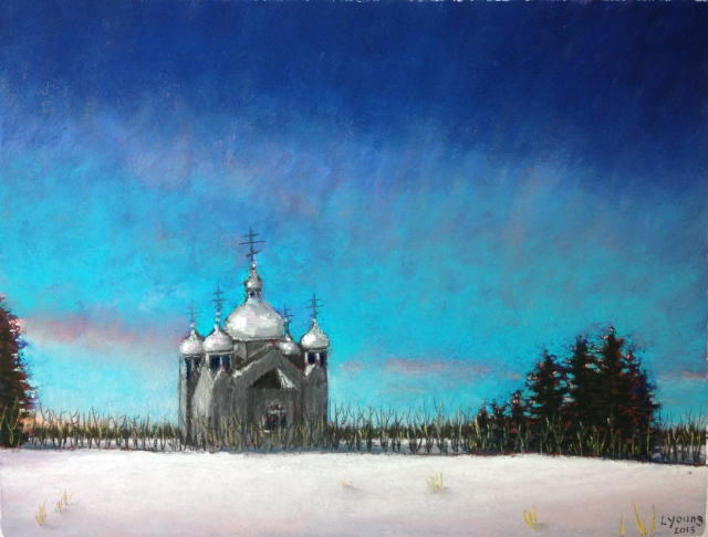 "Holy Trinity Ukrainian Orthodox Church, Hwy 39Sennelier soft pastels on Colourfix sanded pastel paper, 9""x12"""
