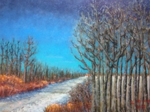"Alberta Birchstand, Highway 39 Lorraine Young Sennelier soft pastels on sanded pastel paper 9"" x 12"" $230 Framed"
