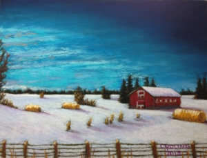Alberta Winter Evening with Barn and Haystacks Hwy 39 SOLD Lorraine Young Sennelier soft pastels on Colourfix sanded pastel paper, 9