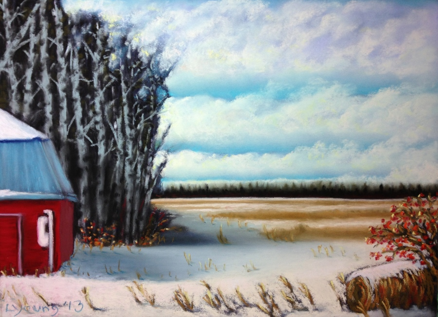 "Alberta Farm Cloudy Winter Sky Hwy 39 Lorraine Young Sennelier soft pastels on pastel card 9"" x 12"" $230"