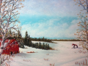 Alberta Winter Farm with Pump Jack (Hwy 39 series) by Lorraine Young soft pastels on pastel card 15