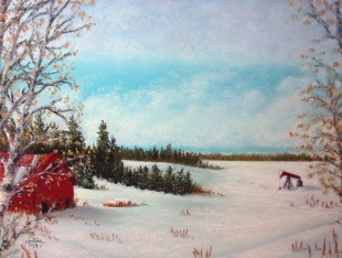 "Alberta Winter Farm with Pump Jack (Hwy 39 series) by Lorraine Young soft pastels on pastel card 15"" x 12"" SOLD"