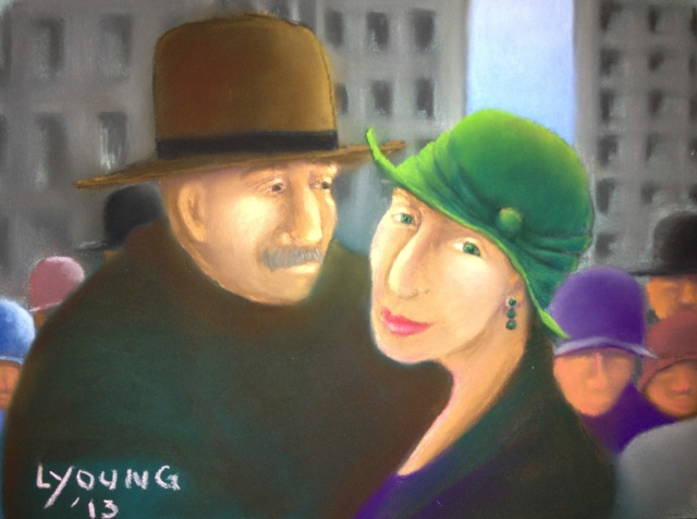 """Nice Hat"" Lorraine Young Sennelier soft pastels on pastel card 9"" x 12"""