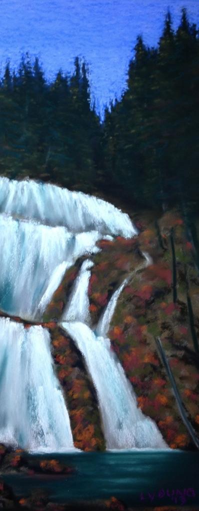 """Albas Falls, Shuswap Lakes B.C. Sennelier soft pastels on sanded pastel paper 7"""" x 17""""  $230"""