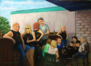 """On the Pub Patio Lorraine Young soft pastels on pastel card 15"""" x 12"""" SOLD"""