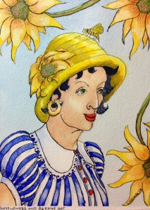 Sunflowers and a Beehive Hat ink and watercolour on 140 lb Arches cold press w/c paper 5 1/2 x 7 1/2
