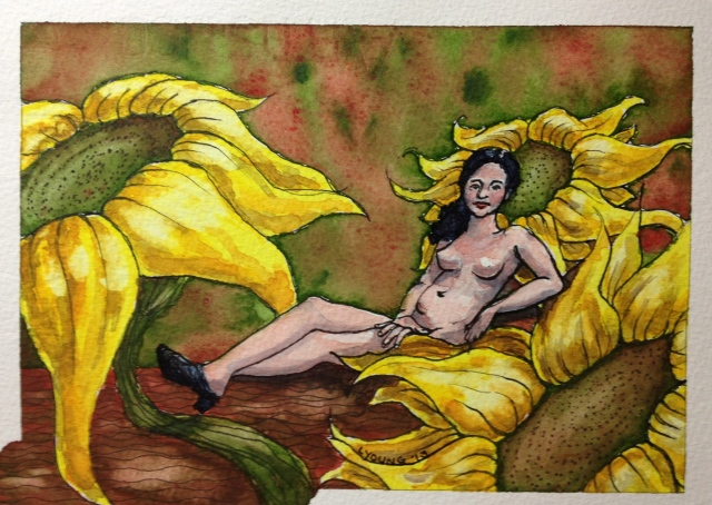 Olympia with Sunflowers. Ink and watercolour on 140 lb Fabriano cold press w/c paper 7 1/2 x 5 1/2