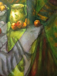 After Cezanne Apples and Oranges 2 ink and watercolour 5 x 7