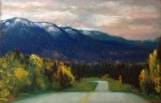 """Rocky Mountain Sunset on the David Thompson Highway"" 9"" x 6"" soft pastel on Pastel Card Lorraine Young"