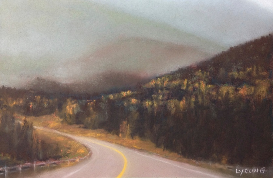 Misty Mountains on the David Thompson Highway by Lorraine Young Soft pastels on Pastel Card 9 x 7 $175 framed