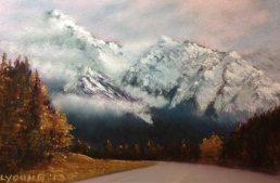 "SOLD Autumn In The Rockies by Lorraine Young Soft Pastels on pastel card 9"" x 7"""