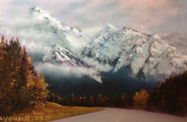 "Autumn In The Rockies   Lorraine Young  Soft Pastels on pastel card  9"" x 7"""