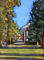 "Jasper Alley in the Fall Lorraine Young 4 ½"" x 6 ½"" soft pastels on pastel card $120 framed"