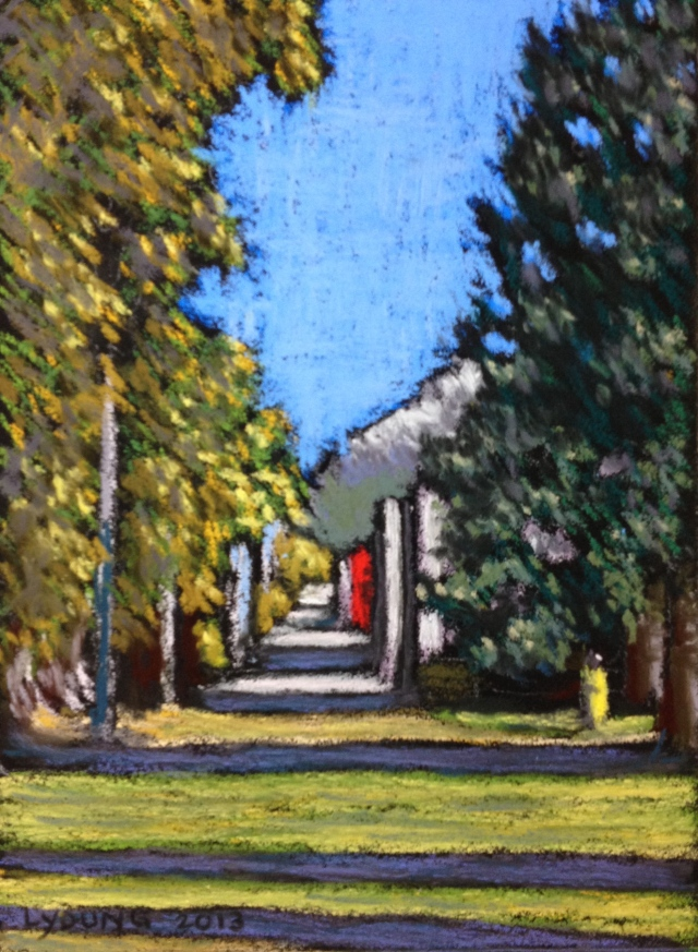 Jasper Alley in the Fall    Lorraine Young 4 ½ x 6 ½    Sennelier soft pastels on pastel card