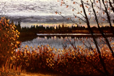 "Autumn at Jackie Parker Park by Lorraine Young soft pastels on pastel card 5 ½"" x 8 ½ "" $175 framed"