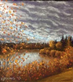 SOLD Autumn Clouds Over Jackie Parker Park by Lorraine Young soft pastels 5 ½ x 6 ½ $85 framed