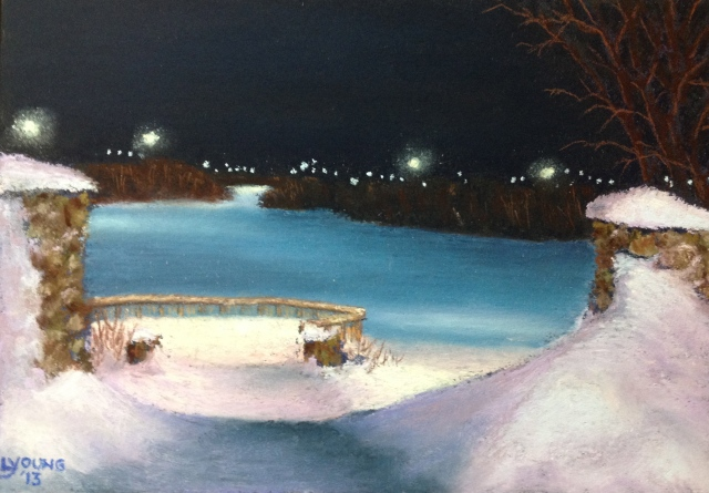 "Winter Night at Jackie Parker Park by Lorraine Young,  soft pastels on Colourfix sanded pastel paper,  7 ½"" x 5 ½ ""."
