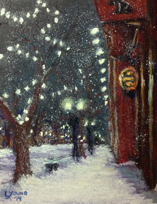 """Whyte Ave. Winter Scene, Black Dog,"" by Lorraine Young, soft pastels on Wallis pastel paper, 5 ½"" x 7 ½"" $150 unframed"