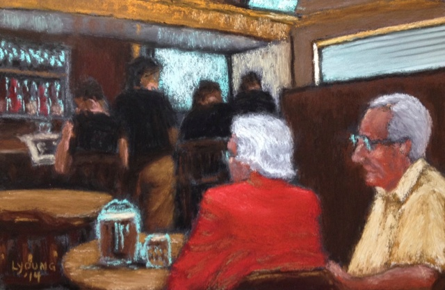 "Afternoon at Pub by Lorraine Young soft pastels on pastel card 8"" x 5 ½"" $150 unframed"