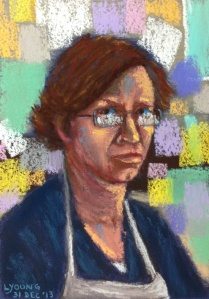 "Self Portrait  by Lorraine Young  Dec 31 2013  soft pastels on sanded pastel paper  5"" x 7"""