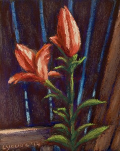 """""""Blooming on the Back Fence 1"""" by  Lorraine Young,  Pastels on Wallis, 4"""" x 5 ½""""           $50 unframed"""