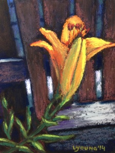 """""""Blooming on the Back Fence 2"""" by  Lorraine Young,  Pastels on Wallis, 4"""" x 5 ½""""      $50 unframed"""