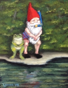 """Snorkel Gnome and Frog"" by Lorraine Young soft pastels 4 ½"" x 6"" Private Collection"