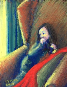 """Little Girl in a Big Chair With a Red Blanket"" by Lorraine Young Pastels on Wallis 4 ½"" x 6"" $40 unframed"