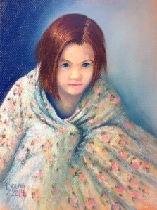 """Little Girl in Her Mother's Bathrobe""  Lorraine Young pastels on Canson Mi-Teintes  9"" x 12"""