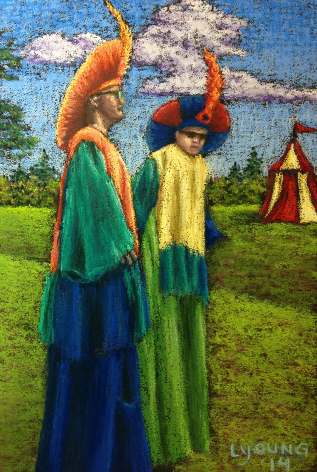 """Stiltwalkers at the Faire"" soft patels on Canson Mi Teintes Touch 7"" x 10"" $185 unframed"