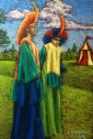 """Stiltwalkers at the Faire"" soft patels on Canson Mi Teintes Touch 7"" x 10"" $250 framed"