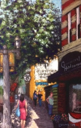 """Sunshine on the Ave"" Lorraine Young, soft pastels on sanded pastel paper, 6 ½"" x 10"" SOLD"