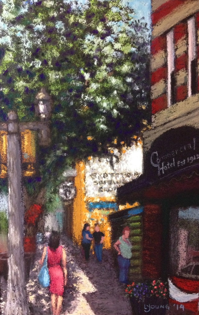 """Sunshine on the Ave""  Lorraine Young, soft pastels on sanded pastel paper, 6 ½"" x 10""   $110 unframed"