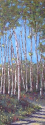 "SOLD ""Walk in the Woods"" soft pastels on sanded pastel paper 7"" x 17 ½"" Lorraine Young $200 framed"