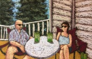 """On the Balcony"" pastels on sanded pastel paper 6 ½"" x 10"" Lorraine Young NFS"