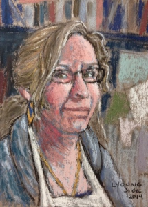 "Self Portrait 2014, Lorraine Young soft pastels on Wallis pastel paper, 5 ½"" x 7 ½"""