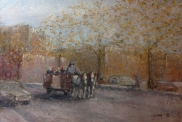 """Sleigh Ride on the Ave"", Lorraine Young, soft pastels on Canson Mi-Teintes Touch, 15 ¼"" x 10 ½' $200 unframed"