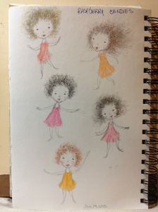 """Cutie Pies - sketches"" in my sketchbook - Lorraine Young - pencil and charcoal"