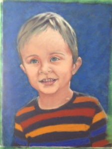 "WIP - Lorraine Young - ""Teo"" - commissioned portrait - pastels on sanded pastel paper - 9""x12"""