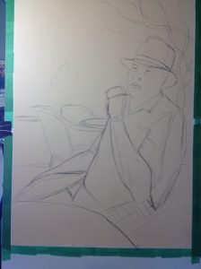 WIP Charcoal sketch for Cohiba