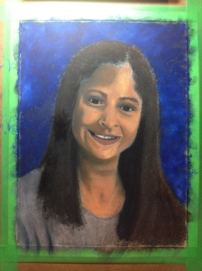 "WIP - Lorraine Young - ""Danica"" - commissioned portrait - pastels on sanded pastel paper - 9""x12"""
